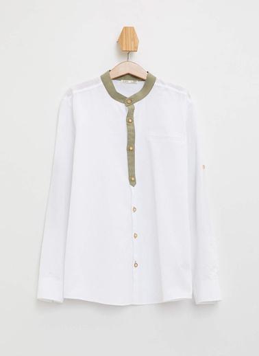 DeFacto Hakim Yaka Katlanabilir Kollu Gömlek Beyaz